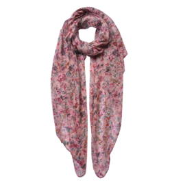 Sjaal met roosjes roze