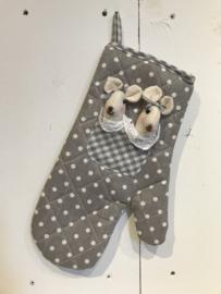 Ovenhandschoen grijs met 2 muisjes