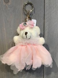 Sleutelhanger beer met roze jurkje