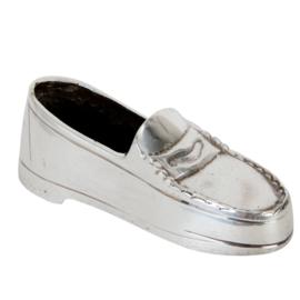 Decoratie schoentje zilverkleur 12*4