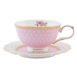 Kop en schotel roze