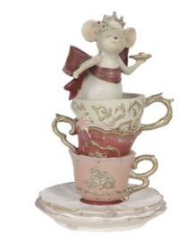 Decoratie kop en schotels met muis