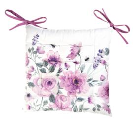 Stoelkussen met foam rozen en vlinders  roze 40*40