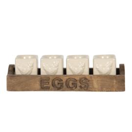 Eierdopjes (4) in houten bak EGGS