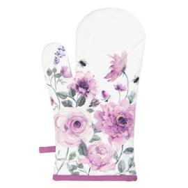 Ovenhandschoen rozen en vlinders roze