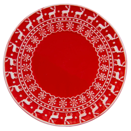 Kerstservies Ontbijtbord rood 21 cm