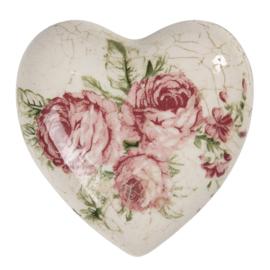 Decoratie hart met roosjes 8*8*4