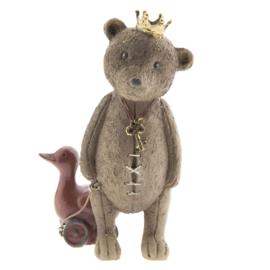 Decoratie beer met eendje en kroon