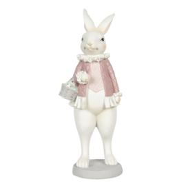 Decoratie konijn meisje met mandje 10*10*25
