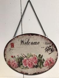 Tekstbord Welcome rozen ovaal
