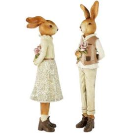Decoratie konijnen stel man en vrouw