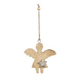 Houten hanger engel met ster (S)