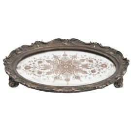 Dienblad met spiegel bruin/brons 40*30*5