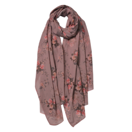 Sjaal met romantische rozenprint roze