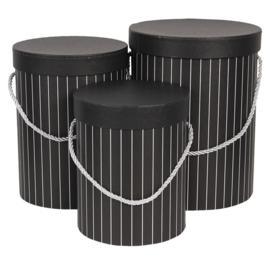 Hoedendoos zwart gestreept set van 3
