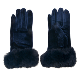 Set handschoenen met bontje blauw