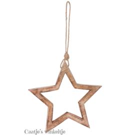Houten hanger ster open 27cm