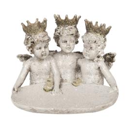 Decoratie engelen trio met schaaltje