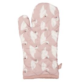 Ovenhandschoen roze met witte zwanen
