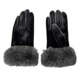 Set handschoenen met bontje grijs