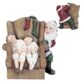 Kerstdecoratie kerstman met slapende kinderen 15*15*16