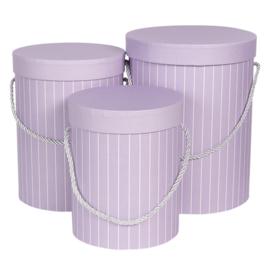 Hoedendoos lila gestreept set van 3