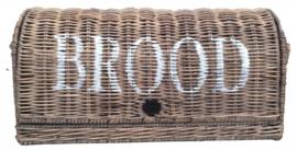 Rieten broodmand Brood met witte letters