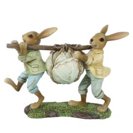 Decoratie Bunny duo dragend een kool