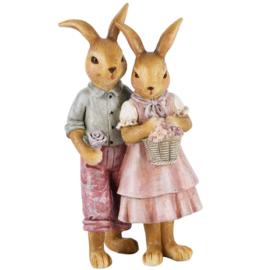 Bunny koppel met bloemenmand hij/zij