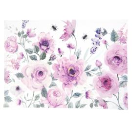 Stoffen placemats rozen en vlinders roze (6)