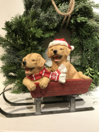 Decoratie slee met honden