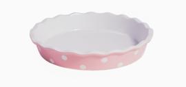 Roze taartvorm met witte dots 26,5 cm