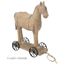 Decoratie paard op wielen 18*23