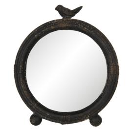 Tafelspiegel brocant rond zwart met vogeltje