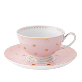 Kop en schotel roze dots