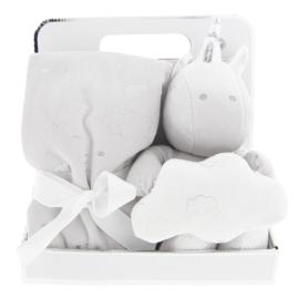 Baby plaid met eenhoorn grijs/wit/zilver