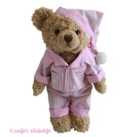 Teddybeer met pyjama en slaapmutsje roze 30cm