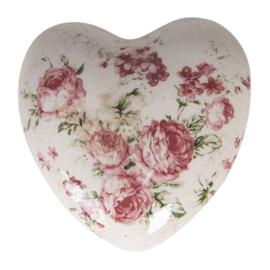 Decoratie hart met roosjes 11*11*4