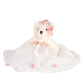 Decoratie beer met jurkje wit/roze 25cm