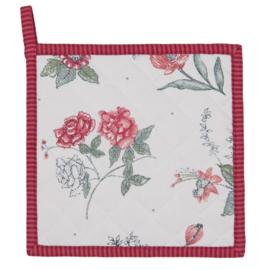Pannenlap bloemen roze/rood