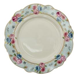 Diner bord rozen blauw