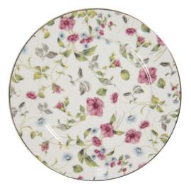 Ontbijt/gebaksbord bloemen 21 cm