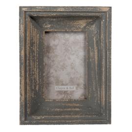 Brocante fotolijst grijs hout 13*18