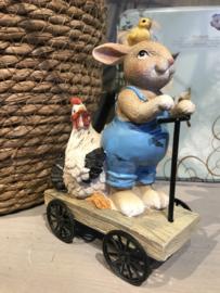Decoratie konijn en kip op autoped