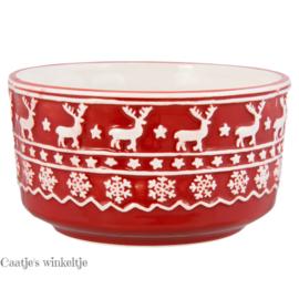 Kerstservies Kom rood 13 cm