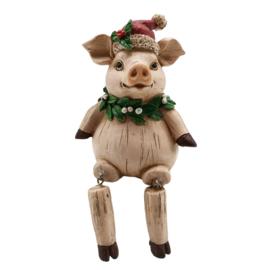 Kerst decoratie varken met bungelende beentjes