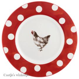 Dinerbord kip rood/wit 26 cm