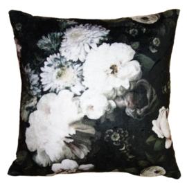 Kussenhoes met bloemen zwart/wit/grijs 45*45
