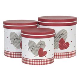 Hoedendoos set van 3 hartje rood/wit