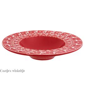 Kerstservies diepbord rood 25 cm